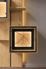 """Obývací a jídelní nábytek VALERO_ volitelná zadní skleněná plocha v nikách a vitrinách_ za příplatek_ rám s """"Hirnholz"""" s LED osvětlením_ obr. 18"""