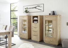 Obývací / jídelní nabytek VALLETTA_100% dubový masiv_2x vitrina 03 + zásuvková skříňka 05_LED osvětlení jako volitelné příslušenství_obr. 5