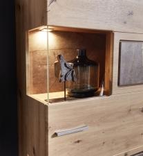 Obývací nábytek REZZO _detail rohového prosklení a LED osvětlení _obr. 8