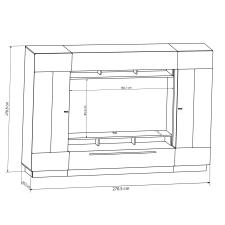 Obývací stěna DALTON_skica s rozměry niky pro TV_obr. 6