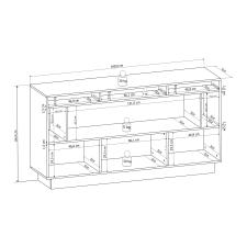 Sideboard DALTON_schematický obrázek s vnitřními rozměry_obr. 14