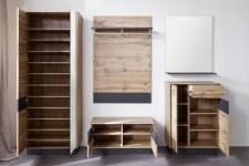 Předsíňový nábytek LOOK_sestava 1747-913-83 + sada 10 ks polic 1747-128-51_čelní pohled_otevřená_obr. 4