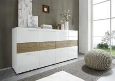Obývací nábytek QUATTRO_sideboard 209042-08M_bílý lak - pravý vysoký lesk_dub natur imitace