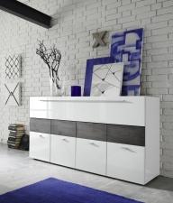Obývací nábytek QUATTRO_sideboard 209042-08W_bílý lak - pravý vysoký lesk_dub wenge imitace