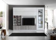 Obývací /TV stěna QUATTRO COMPACT 729042G_bílý lak / dub šedý imitace_obr. 1