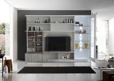 Obývací /TV stěna QUATTRO COMPACT 729042G_bílý lak / dub šedý imitace_otevřená_obr. 2