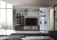 Obývací /TV stěna QUATTRO COMPACT 729042W_bílý lak / dub wenghe imitace_otevřená_obr. 4
