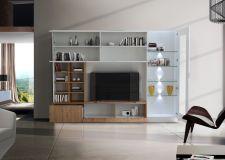 Obývací /TV stěna QUATTRO COMPACT 729042M_bílý lak / dub natur imitace_otevřená_obr. 6