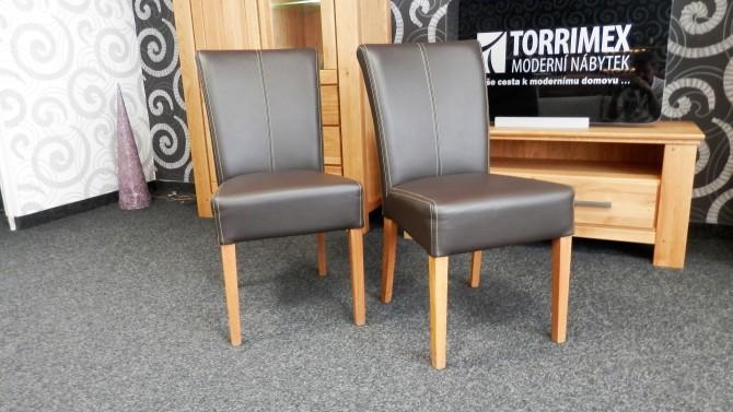 Jedálenská stolička, dub masív, pravá koža QUEEN