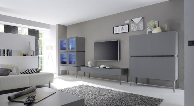 Obývací / jídelní nábytek REX_anthrazit-wenge_volná sestava elementů_obývací pokoj_obr. 1