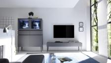 Obývací / jídelní nábytek REX_anthrazit-wenge_volná sestava elementů_obývací pokoj_obr. 3