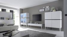 Obývací / jídelní nábytek REX_bílá-wenge_volná sestava elementů_obývací pokoj_obr. 1