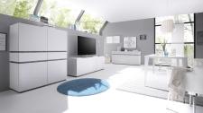 Obývací / jídelní nábytek REX_bílá-wenge_volná sestava elementů_jídelna_obr. 1