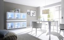 Obývací / jídelní nábytek REX_bílá-wenge_volná sestava elementů_jídelna_obr. 3