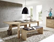 Rozkládací jídelní stůl typ 29 26 BB 01 (rozložený na 240 cm), buk melamin + 2x lavice 29 26 BB 03, sedací polštář v šedé imitaci kůže_obr. 3