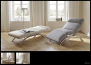 Relaxační polohovatelná pohovka SPACE_v látkách Donna champagner a Havanna Platin