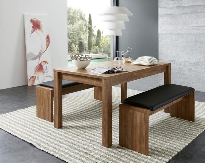 Rozkládací jídelní stůl typ 29 26 CC 01 (160 cm), akácie melamin + 2x lavice 29 26 CC 03, sedací polštář v černé imitaci kůže_obr. 1