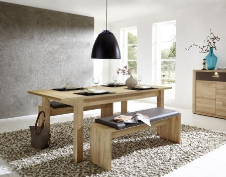 Rozkládací jídelní stůl typ 29 26 RR 01 (rozložený na 200 cm), dub světlý melamin + 2x lavice 29 26 RR 03, sedací polštář v šedé imitaci kůže_obr. 2