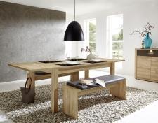 Rozkládací jídelní stůl typ 29 26 RR 01 (rozložený na 240 cm), dub světlý melamin + 2x lavice 29 26 RR 03, sedací polštář v šedé imitaci kůže_obr. 3