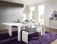 Rozkládací jídelní stůl typ 29 26 UU 01 (rozložený na 240 cm), pinie světlá melamin + 2x lavice 29 26 UU 03, sedací polštář v šedé imitaci kůže_obr. 3