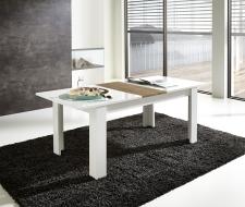Rozkládací jídelní stůl typ 29 11 WR 01 (rozložený na 200 cm), bílý melamin v kombinaci s balkánským dubem MDF_obr. 2