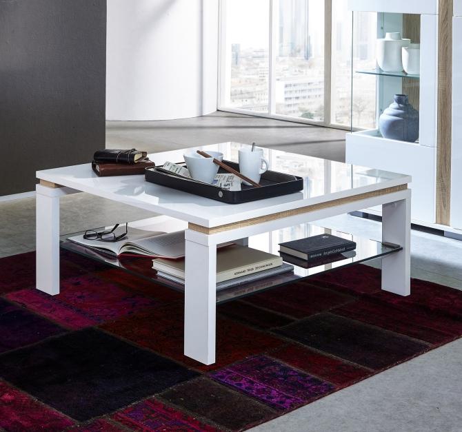 Konferenční stolek 29 11 WW 02_bílá lesklá MDF_částečně dub Sonoma světlý MDF