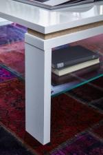 Konferenční stolek 29 11 WW 02_bílá lesklá MDF_částečně dub Sonoma světlý MDF_detail