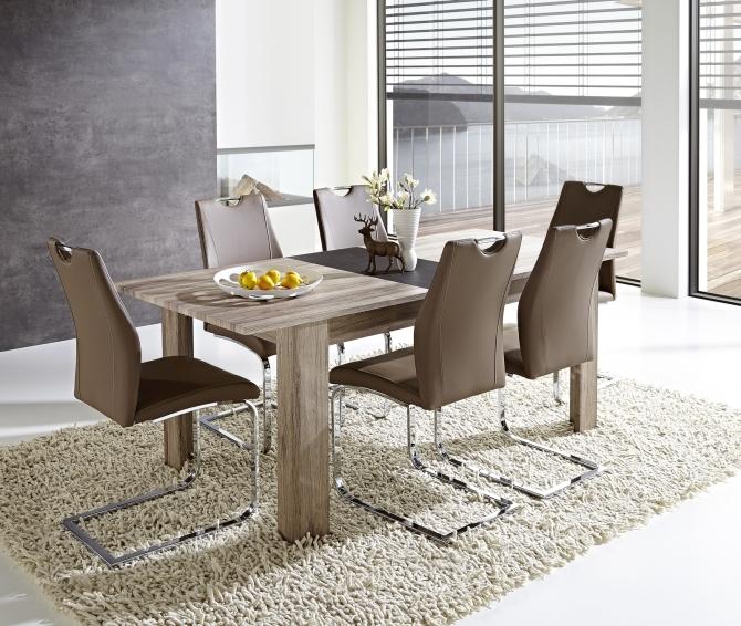 Rozkládací jídelní stůl typ 29 11 ZZ 01 (rozložený na 200 cm), dub San Remo tmavý melamin v kombinaci s břidlice MDF_obr. 1