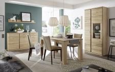 Ukázka možné sestavy nábytku do jídelny TERANO_vitrina, sideboard s policí a jídelní stůl_obr. 3